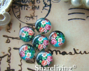 Glass Cabochon, 8mm 10mm 12mm 14mm 16mm 20mm 25mm 30mm Round Handmade photo glass Cabochons (Rose)  -- BCH083G