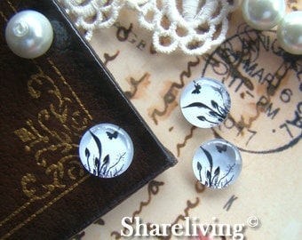 Glass Cabochon, 8mm 10mm 12mm 14mm 16mm 20mm 25mm 30mm Round Handmade photo glass Cabochons (Butterfly) -- BCH068C