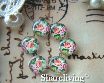 Glass Cabochon, 8mm 10mm 12mm 14mm 16mm 20mm 25mm 30mm Round Handmade photo glass Cabochons (Rose)  -- BCH083E