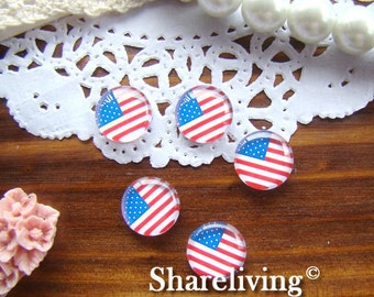 12mm Glass Cabohcon, 8mm 10mm 14mm 16mm 20mm 25mm 30mm Round American Flag Image Cabochon - BCH059J