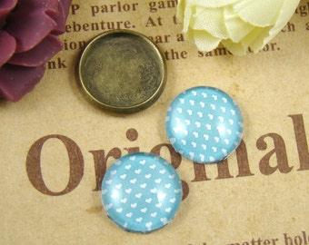 Glass Cabochon, 8mm 10mm 12mm 14mm 16mm 20mm 25mm 30mm Round Handmade photo glass Cabochons - Dot Collection BCH011F