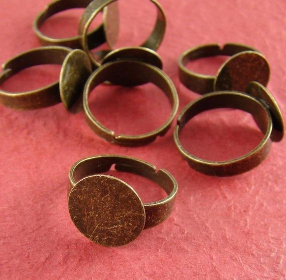 10pcs Nickel Free Antique Bronze Adjustable Ring Blanks With 12MM Big Flat Pad RI202