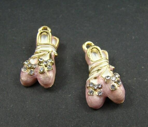 2PCS 24x12mm Lovely Pink Ballet Shoe Charm Pendant AJ054