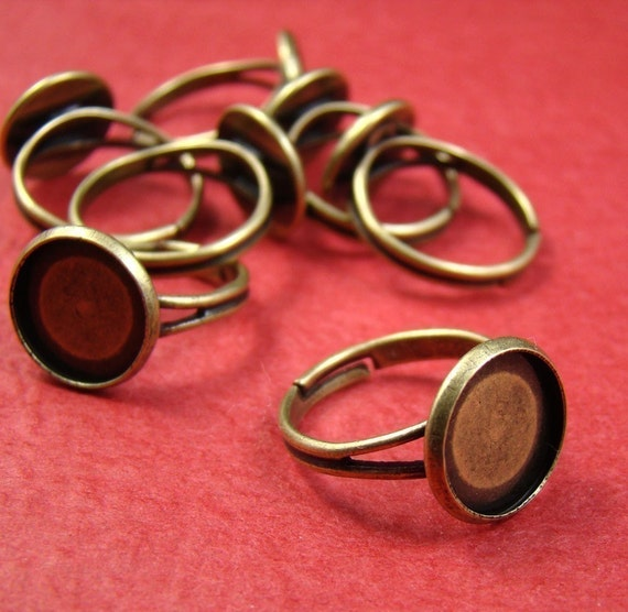 20pcs Antique Brass Adjustable Nickel Free With 12mm Round Cameo Setting RI406