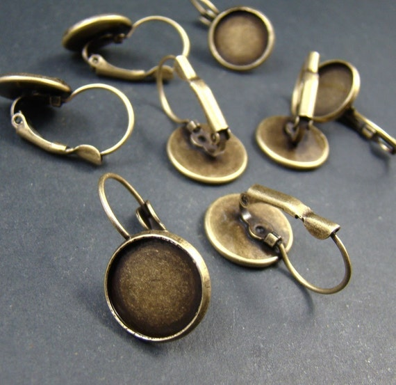 100pcs Antique Solid Brass French Earwires Hook With Round 12mm Pad EA611