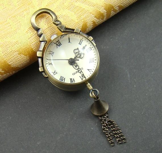 50% OFF SALE - 1PCS Antique Bronze Clear Glass Ball Design Necklace Watch Pendant Lk762