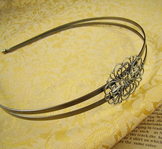 2pcs Large 150x130mm Antique Bronze Unique Double Hair Band With Filigree Wrap HA420