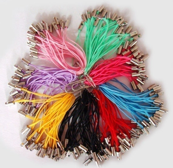 80pcs  50mm CellPhone Charm Strings 8 color mixed