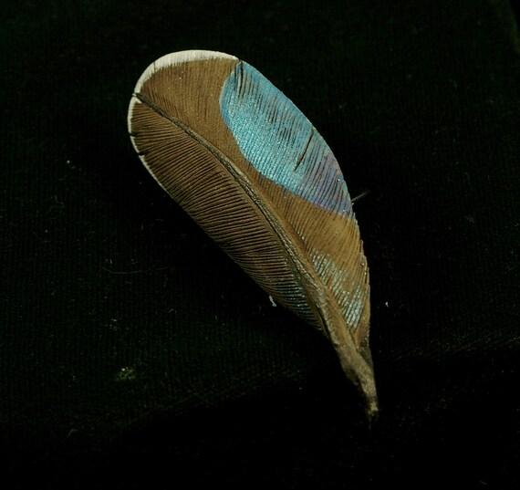 Woodcarving of a Mallard Drake feather pin