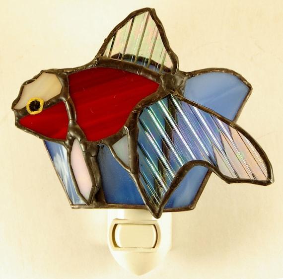 Stained Glass Lion head Lyrtail Fish Night Light Suncatcher