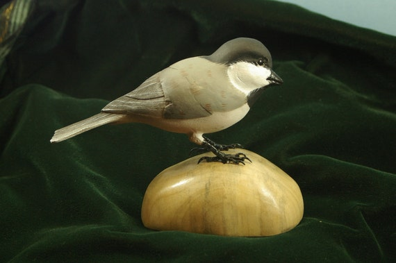 Handmade Wood Carving of a Black Capped Chickadee