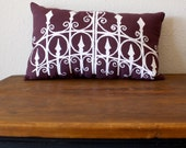 the Garden Gate Pillow in PURPLE