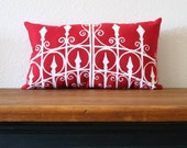 the Garden Gate in RED - Hand Silk Screened Throw Pillow - 10 x 18 - from the Garden Accents Series