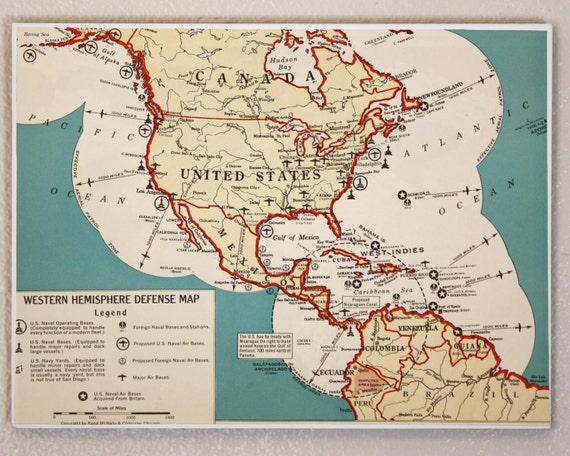 Western Hemisphere Defense Map 1941 Atlas Page 9x12