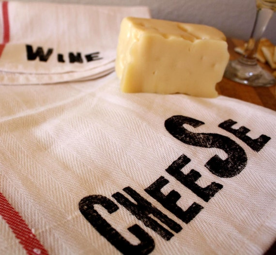 Wine and Cheese Towel Set - Set of 4 - Tea Towels