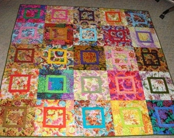 Patchwork Lap Throw Quilt Flower Garden Lap-69 x 69