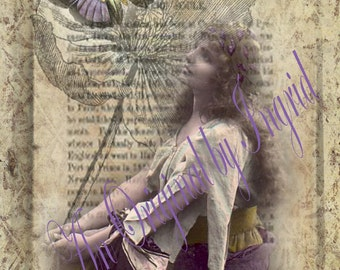 Lavender Gypsy Digital Collage Greeting Card (Suitable for Framing)