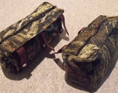 Camouflage hunting treestand bags, set of two side storage bags, Realtree Hardwoods or Mossy Oak Breakup Infinity, made to order