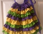 Mardi Gras super ruffle dress, purple yellow and green, made to order in 5-7 business days
