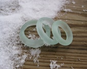 Tumbled vintage glass chunky circle hoops  light teal  supplies