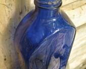 LARGE cobalt blue medicine bottle vintage center piece vases