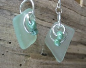 Fast Shipping    Seafoam green tumbled beachglass inspired dangle earrings TrAsH gLaSs