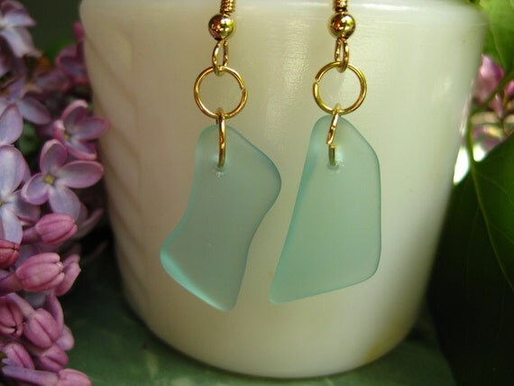 Pay it forward TrAsH gLaSs teal canning jar tumbled glass earrings 20 cents