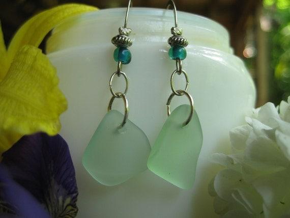 seaglass inspired  Coca Cola tumbled glass earrings TrAsH gLaSs