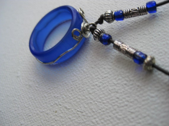 Cobalt blue wire wrapped seaglass inspired hoop pendant, great eyeglass holder TrAsH gLaSs