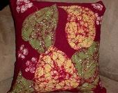 Wine Indonesian Leaves Batik Pillow