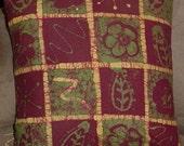 Wine Squares Batik Pillow