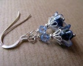 Baby Bells - Blue Flowers with Swarovski Crystals Beaded Sterling Silver Earrings