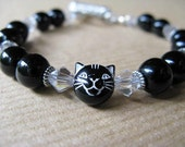 Oreo - Black and White Kitty Cat Face and Onyx Beaded Bracelet
