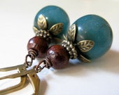 RESERVED for gjcat - Teal and Wood Beaded Vintage Style Antiqued Bronze Earrings and Necklace Set - Berrylicious