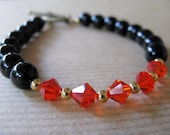 Black Onyx and Orange Swarovski Crystal Beaded Bracelet - BeadedTail