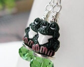 Green Frog with Pink Feet Sterling Silver Earrings - Hoppity