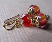Red and Golden Striped Artisan Lampwork Glass and Crystal Beaded 14K Gold Filled Earrings