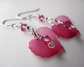 Pink Leaves and Dark Rose Swarovski Crystals Sterling Silver Earrings