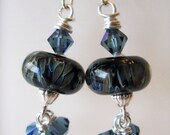 Denim - Dark Blue Artisan Lampwork Glass and Crystal Sterling Silver Kidney Earrings