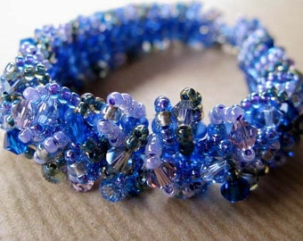 SALE Caterpillar Bracelet READY to SHIP- Swarovski Crystal Beadwoven Spring Bouquet Bracelet - Ciara