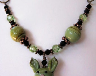 SALE Bunny Rabbit - Green Lampwork with Peridot Swarovski Crystals Beaded Antiqued Brass Chain Necklace