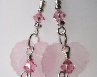 SALE Pink Leaves and Rose Swarovski Crystals Sterling Silver Earrings