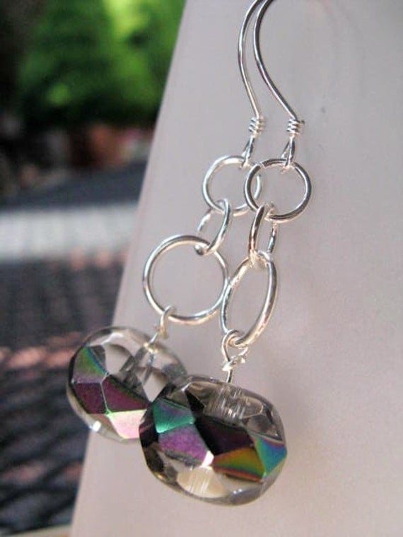 SALE Vegas Strip - Rainbow Striped Glass Beads and Sterling Silver Dangle Earrings