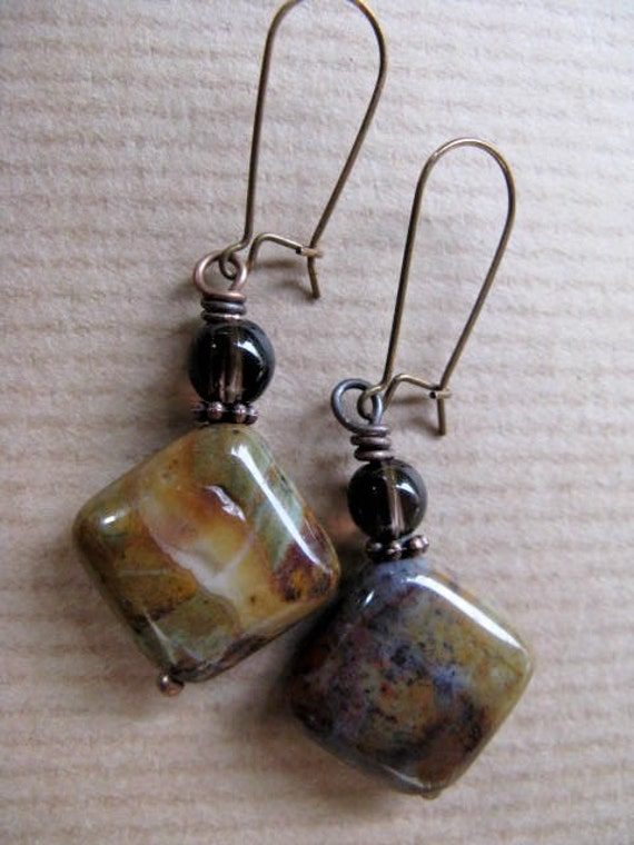 Mystery - Smoky Quartz and Stone Antiqued Brass Earrings