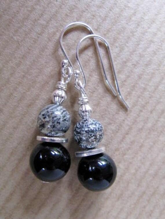 Black Sand - Silver Leaf Jasper and Black Onyx Beaded Sterling Silver Earrings