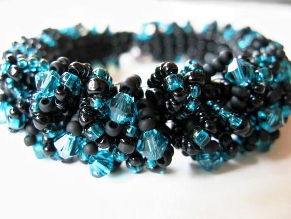 Caterpillar Beadwoven Bracelet - Blue Zircon and Black Swarovski Accented No-No Bracelet