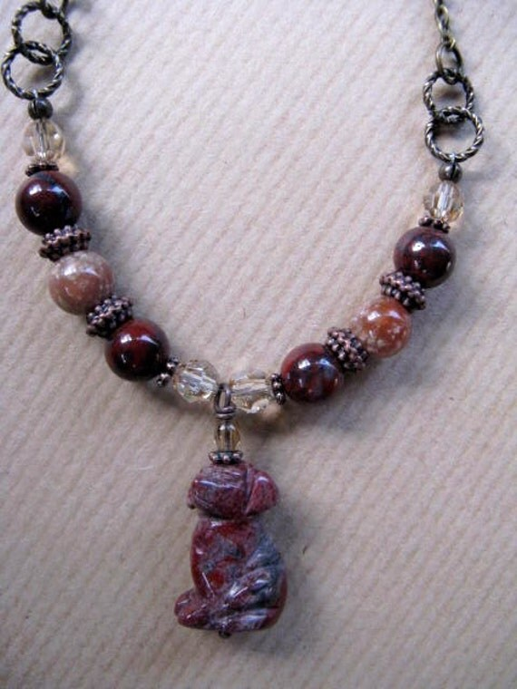 Red Jasper Dog and Swarovski Crystal Antiqued Brass Chain Necklace