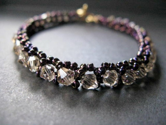Tennis Bracelet Deep Purple with Golden Shadow Crystal READY TO SHIP