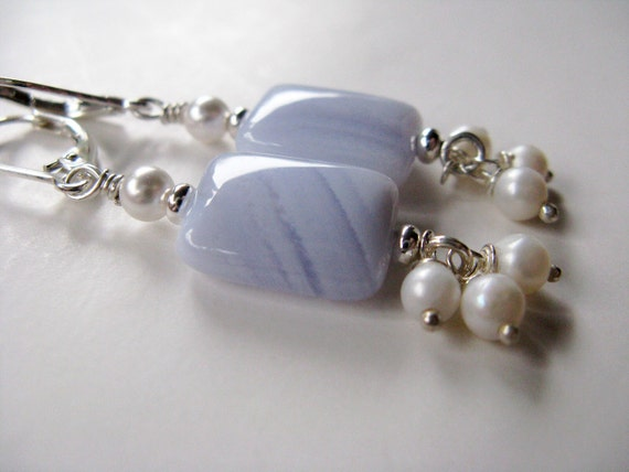 Blue Lace Agate and Pearl Sterling Silver Lever back Earrings