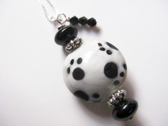 SALE Pawsitive - White with Black Pawprints Ceramic and Onyx Beaded Pendant on Sterling Silver Chain